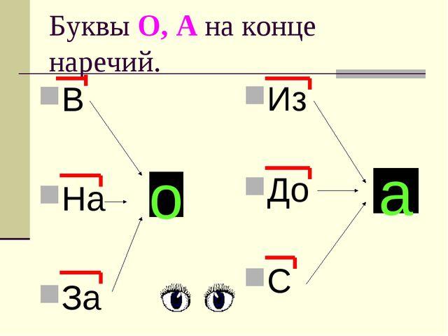 Буквы О, А на конце наречий. В На За Из До С о а