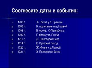 Соотнесите даты и события: 1700 г. А. битва у о. Гренгам 1703 г.Б. пора