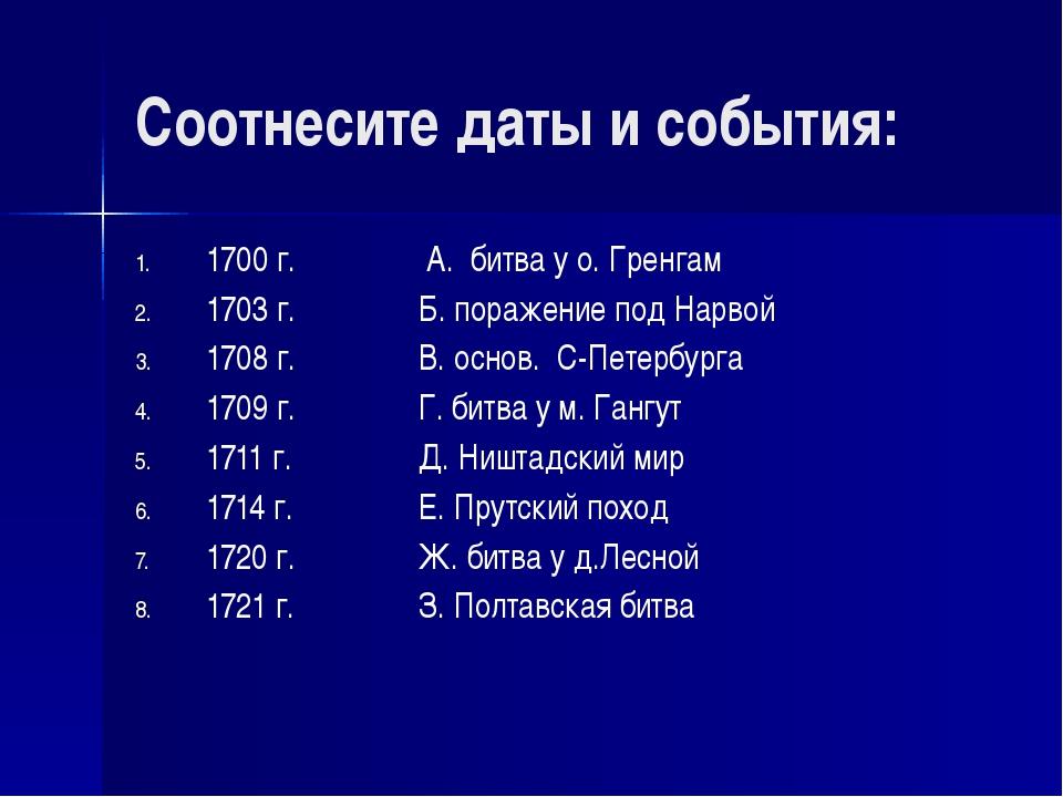 Соотнесите даты и события: 1700 г. А. битва у о. Гренгам 1703 г.Б. пора...