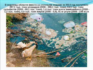 В водоемы области вместе со сточными водами за 2014 год поступило 287,1 тыс.