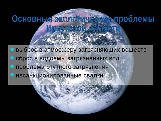 выброс в атмосферу загрязняющих веществ сброс в водоемы загрязненных вод проб...