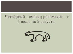 Четвёртый - «месяц росомахи» - с 5 июля по 9 августа.