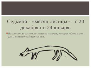 Седьмой - «месяц лисицы» - с 20 декабря по 24 января. На хвосте лисы можно у