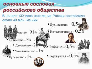 • Рабочие – 0,5% • Буржуазия – 0,5% • Крестьянство – 91% • Казачество – 3% •