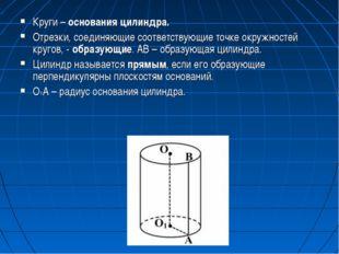 Круги – основания цилиндра. Отрезки, соединяющие соответствующие точке окружн