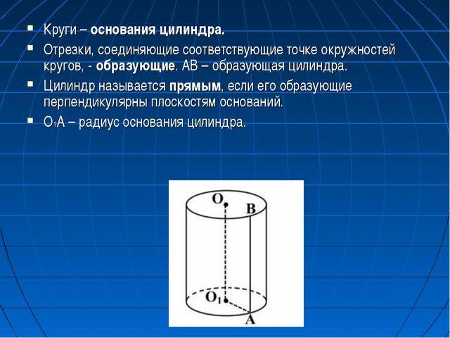 Круги – основания цилиндра. Отрезки, соединяющие соответствующие точке окружн...