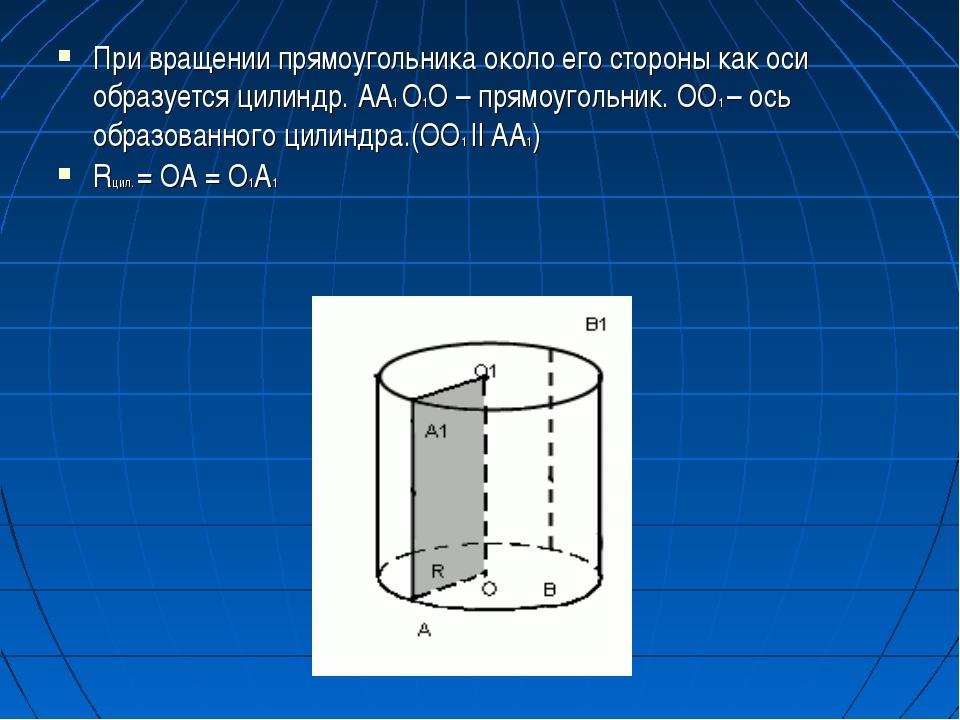При вращении прямоугольника около его стороны как оси образуется цилиндр. AA1...