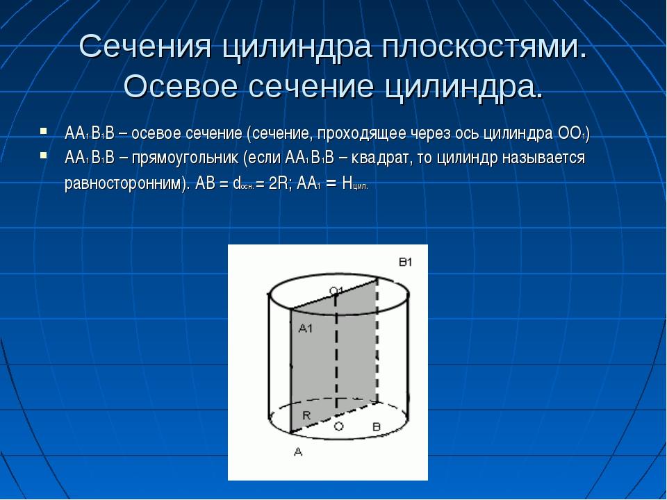 Сечения цилиндра плоскостями. Осевое сечение цилиндра. AA1 B1B – осевое сечен...
