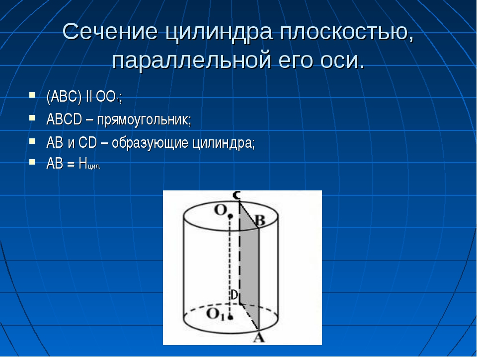 Сечение цилиндра плоскостью, параллельной его оси. (ABC) || OO1; ABCD – прямо...