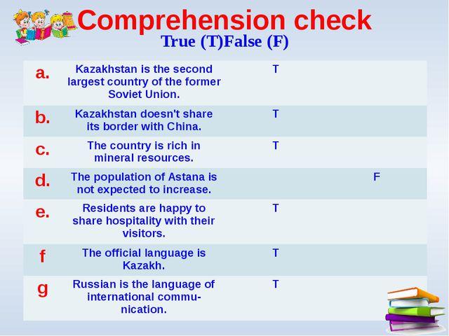 Comprehension check True (T)False (F) a. Kazakhstan is the second largest cou...