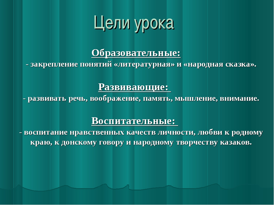 Цели урока Образовательные: - закрепление понятий «литературная» и «народная...