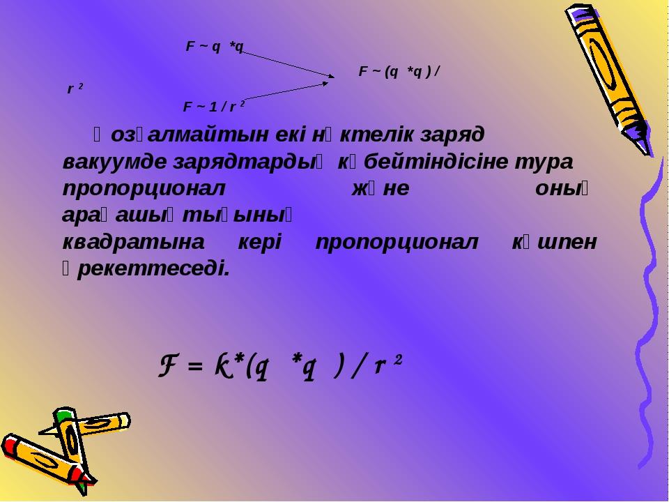 F ~ q *q F ~ (q *q ) / r 2 F ~ 1 / r 2 Қозғалмайтын екі нүктелік заряд вакуу...