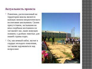 Актуальность проекта Памятник, расположенный на территории школы является ва