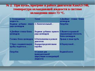 № 2. При пуске, прогреве и работе двигателя КамАЗ-740, температура охлаждающе
