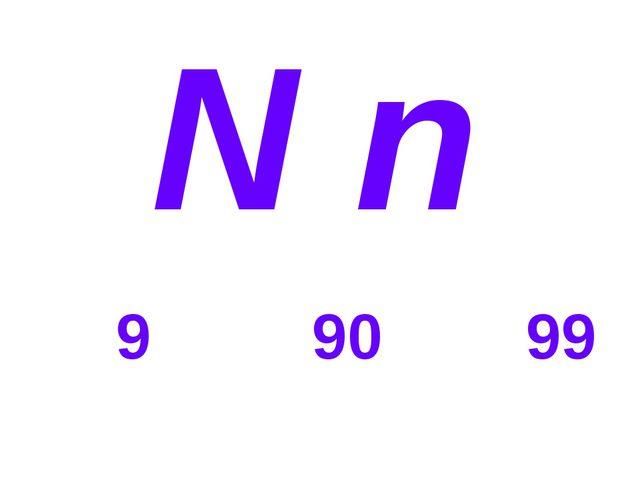 N n 9 90 99