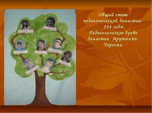 Общий стаж педагогической династии-224 года Педагогическое древо династии Ару