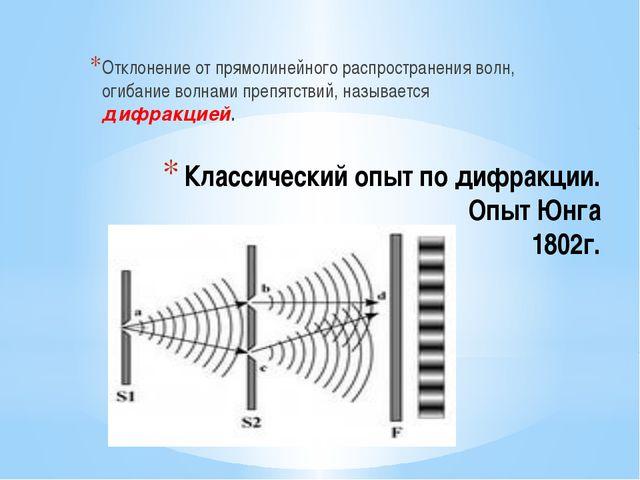 Классический опыт по дифракции. Опыт Юнга 1802г. Отклонение от прямолинейного...