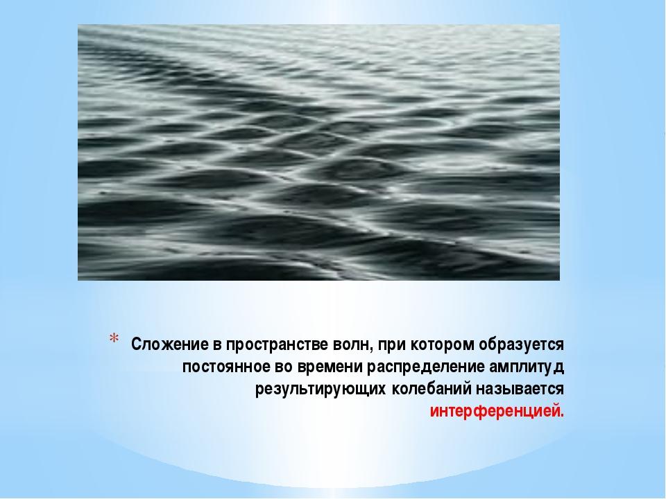 Сложение в пространстве волн, при котором образуется постоянное во времени ра...
