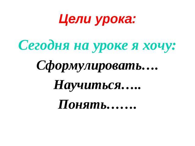 Цели урока: Сегодня на уроке я хочу: Сформулировать…. Научиться….. Понять…….