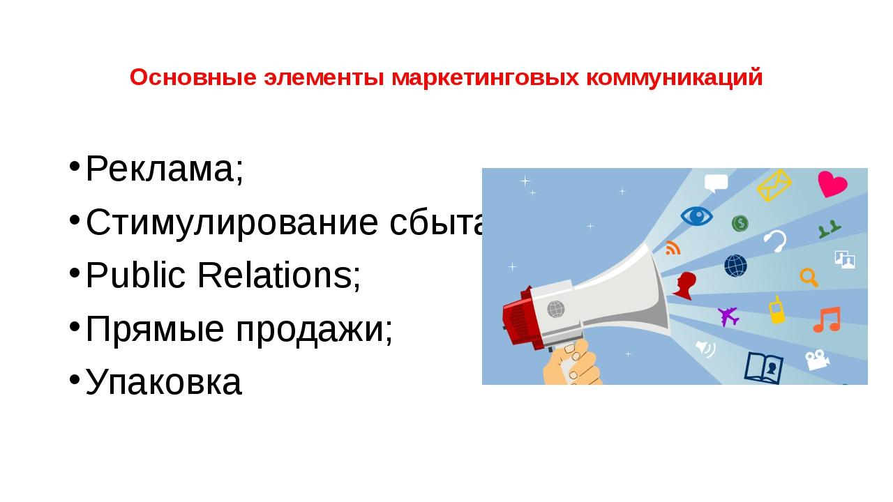 Основные элементы маркетинговых коммуникаций Реклама; Стимулирование сбыта; P...