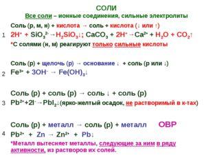 СОЛИ Все соли – ионные соединения, сильные электролиты 1Соль (р, м, н) + кис