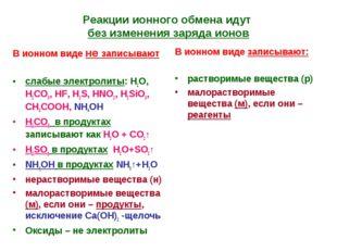 Реакции ионного обмена идут без изменения заряда ионов В ионном виде не запис
