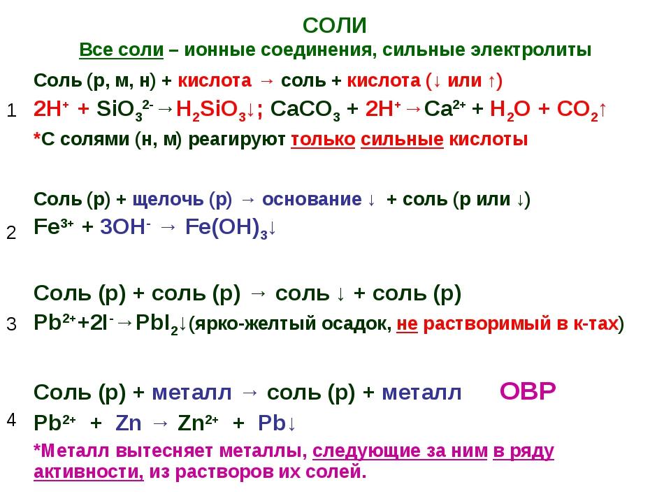 СОЛИ Все соли – ионные соединения, сильные электролиты 1Соль (р, м, н) + кис...