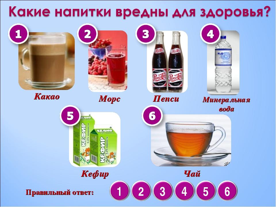 Какао Морс Пепси Кефир Минеральная вода Чай Правильный ответ: