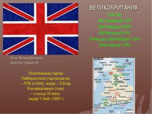 ВЕЛИКОБРИТАНИЯ Состав: Англичане-81,5% Шотландцы-9,6% Ирландцы-2,4% Уэльсцы (
