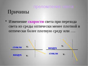 Причины Изменение скорости света при перехода света из среды оптически менее