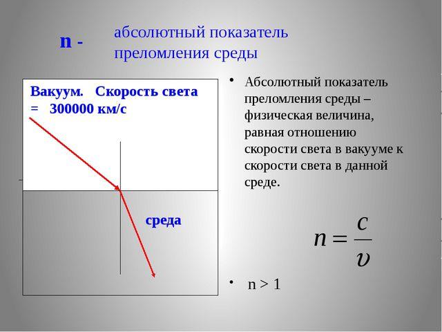 абсолютный показатель преломления среды Абсолютный показатель преломления ср...