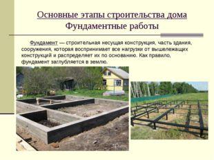 Основные этапы строительства дома Фундаментные работы Фундамент — строительна