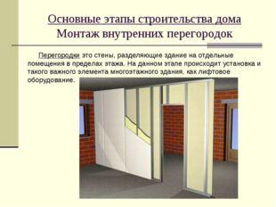 Основные этапы строительства дома Монтаж внутренних перегородок Перегородки э