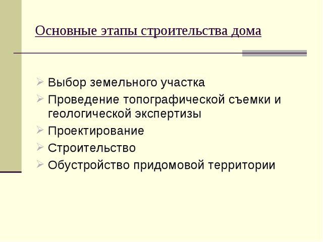 Выбор земельного участка Проведение топографической съемки и геологической э...
