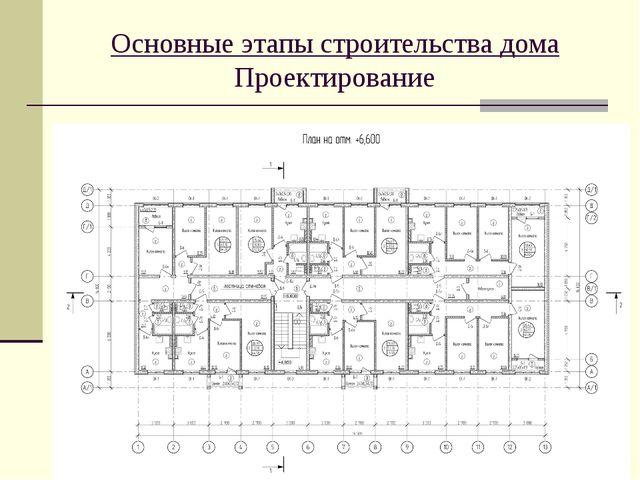Основные этапы строительства дома Проектирование