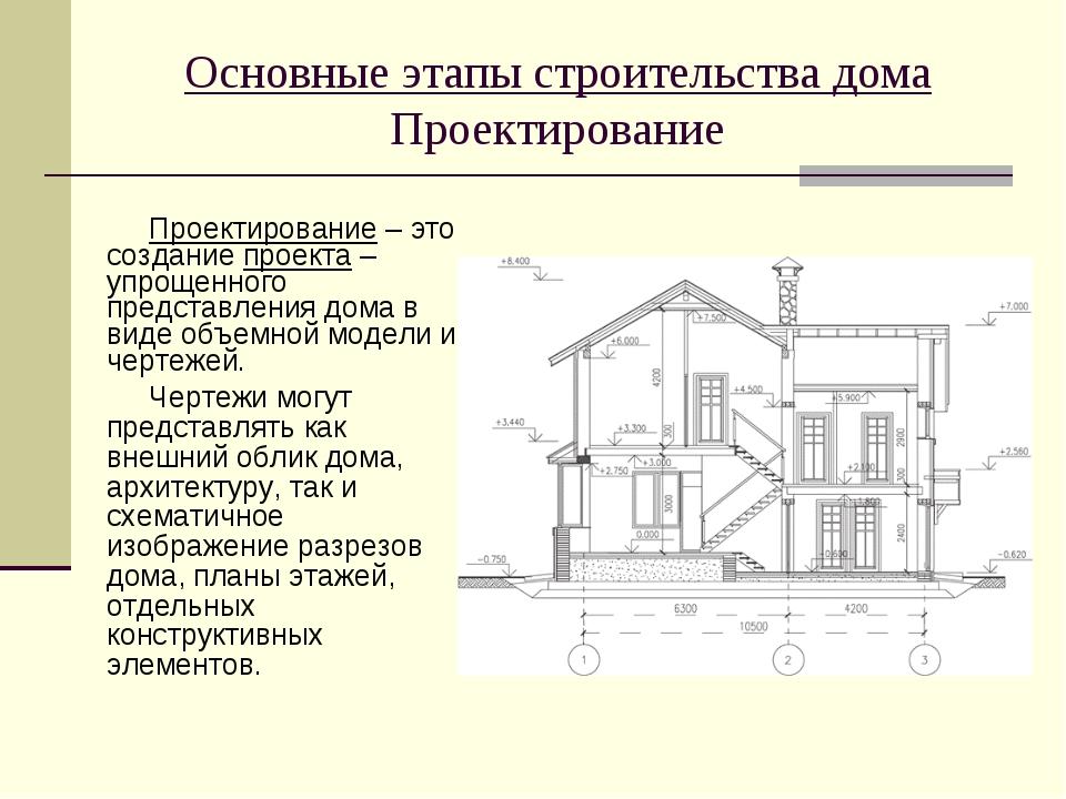 Проектирование – это создание проекта – упрощенного представления дома в виде...