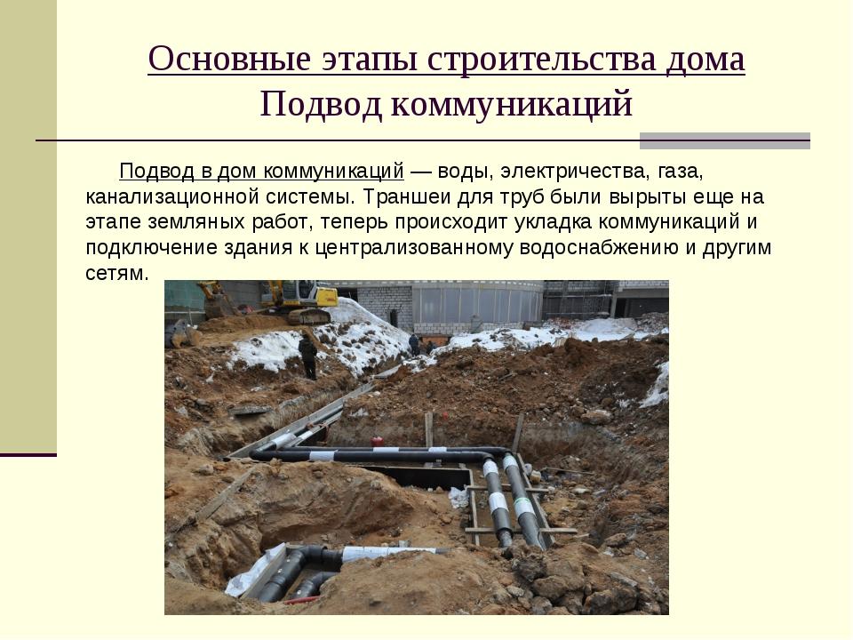 Основные этапы строительства дома Подвод коммуникаций Подвод в дом коммуникац...