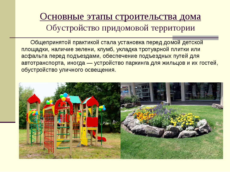 Основные этапы строительства дома Обустройство придомовой территории Общеприн...