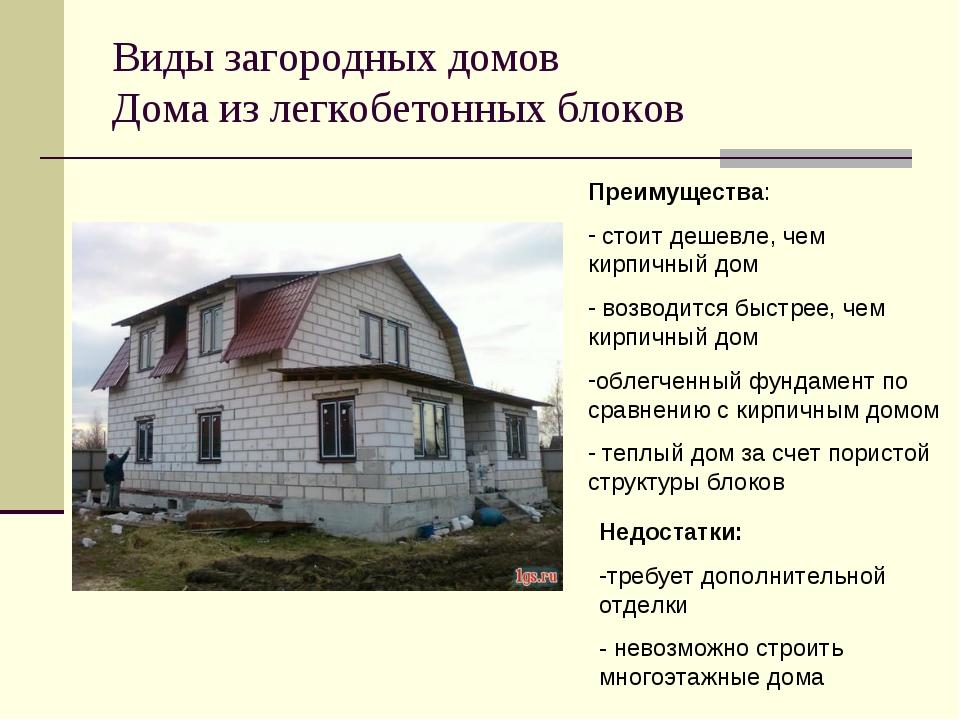Виды загородных домов Дома из легкобетонных блоков Преимущества: стоит дешевл...