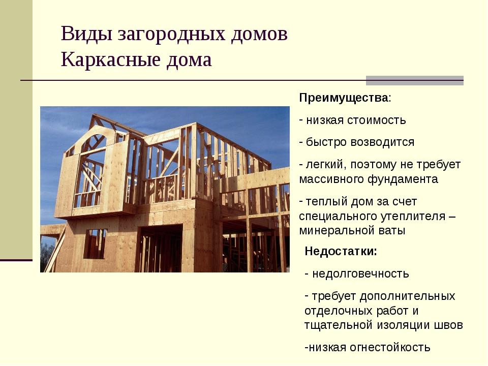 Виды загородных домов Каркасные дома Преимущества: низкая стоимость быстро во...