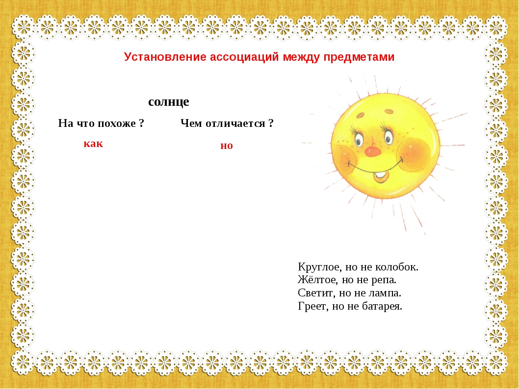 Установление ассоциаций между предметами Круглое, но не колобок. Жёлтое, но н...