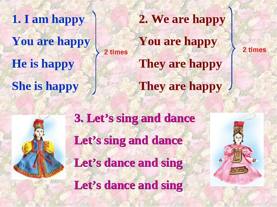 1. I am happy You are happy He is happy She is happy 2. We are happy You are...