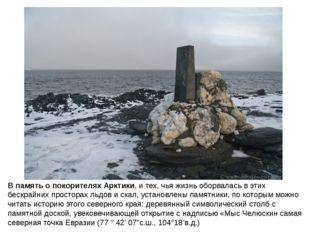 В память о покорителях Арктики, и тех, чья жизнь оборвалась в этих бескрайни
