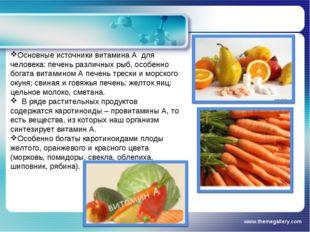 www.themegallery.com Основные источники витамина А для человека: печень разли