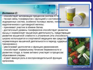 www.themegallery.com Витамин Е: - способствует активизации процессов синтеза
