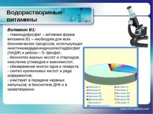 Водорастворимые витамины www.themegallery.com Витамин В1: - тиаминдифосфат –