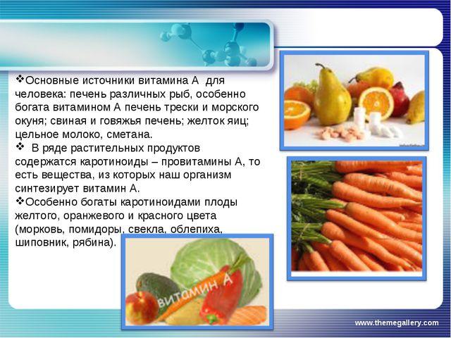 www.themegallery.com Основные источники витамина А для человека: печень разли...