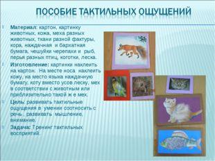 Материал: картон, картинку животных, кожа, меха разных животных, ткани разной