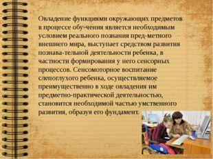 Овладение функциями окружающих предметов в процессе обучения является необх
