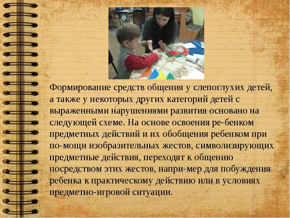 Формирование средств общения у слепоглухих детей, а также у некоторых других...